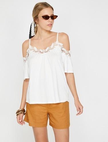 Koton Dantel Detaylı T-Shirt Beyaz